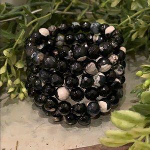 Savvy Cie - Black & Ivory Agate Coil Wrap Bracelet